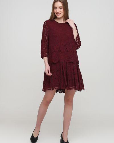 Ажурное красное платье с круглым вырезом Frnch