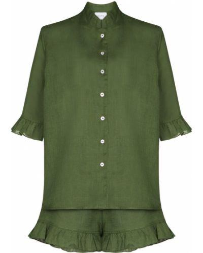 Zielona piżama krótki rękaw materiałowa Sleeper