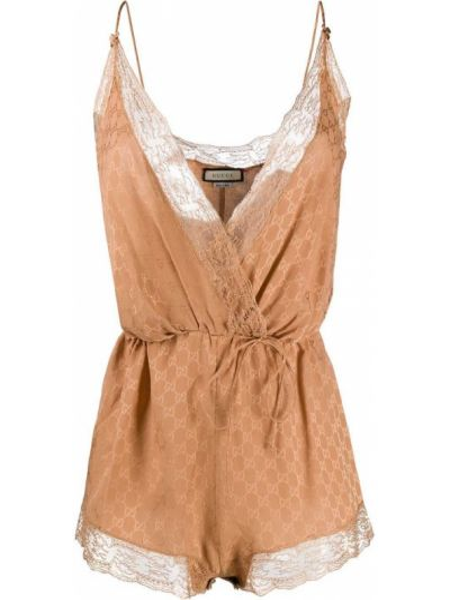 Body koronkowy - brązowy Gucci