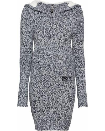 Вязаное платье с капюшоном кенгуру Bonprix