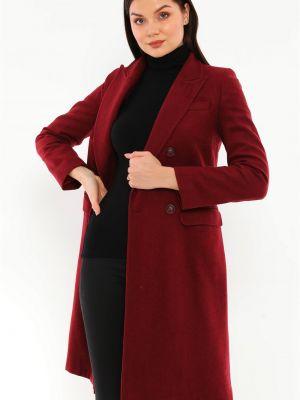 Płaszcz wełniany - bordowy Dewberry