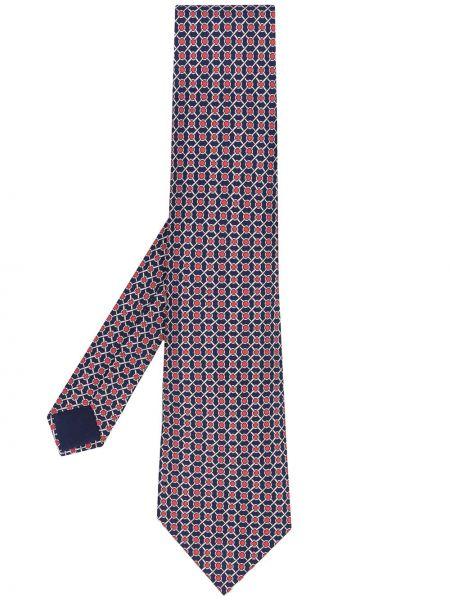 Шелковый синий галстук винтажный Hermès