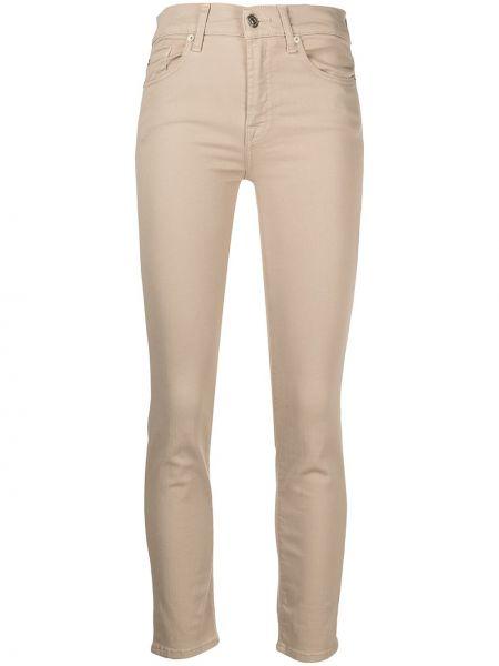 Бежевые зауженные джинсы-скинни с карманами 7 For All Mankind