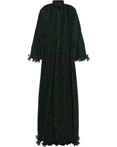 Zielona sukienka na imprezę koronkowa bawełniana Oscar De La Renta