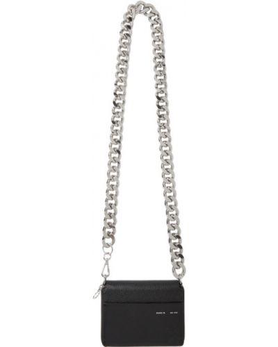 Черный кожаный кошелек с карманами Kara