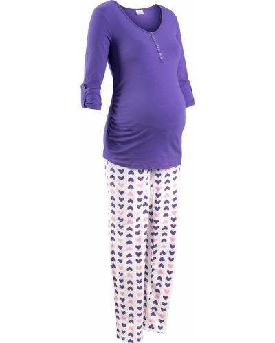 Пижама с брюками на пуговицах с длинными рукавами Bonprix