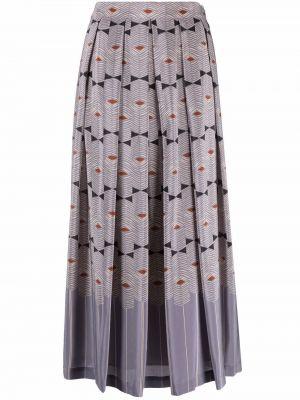 Długa spódnica w kwiaty - fioletowa Alysi