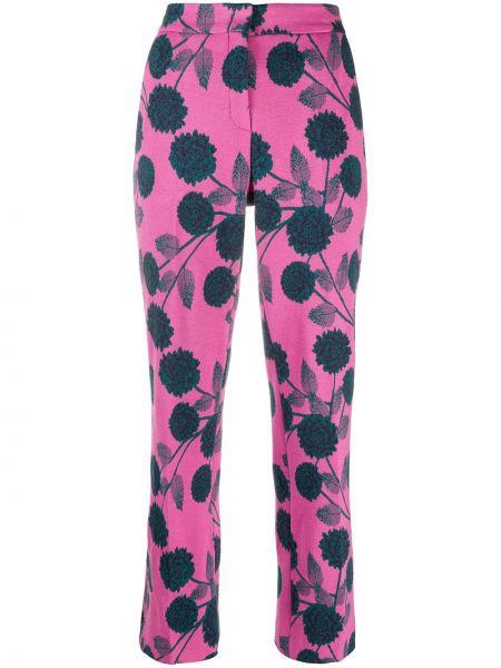 Шерстяные розовые укороченные брюки с карманами с высокой посадкой Odeeh