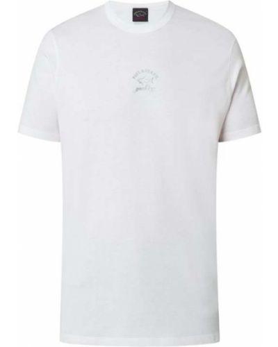 Biały t-shirt bawełniany z printem Paul & Shark