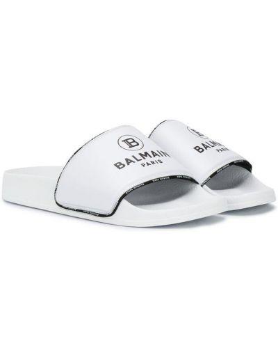Открытые белые шлепанцы с открытым носком Balmain Kids