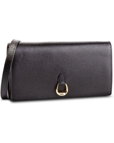 Skórzany portfel czarny Lauren Ralph Lauren