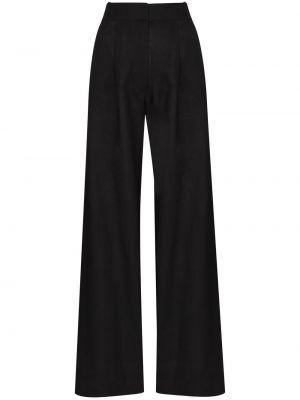 Czarne spodnie z wysokim stanem materiałowe Asceno