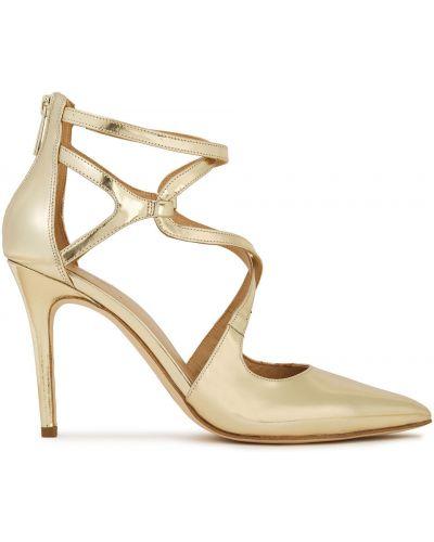 Кожаные туфли-лодочки на каблуке золотые Michael Michael Kors