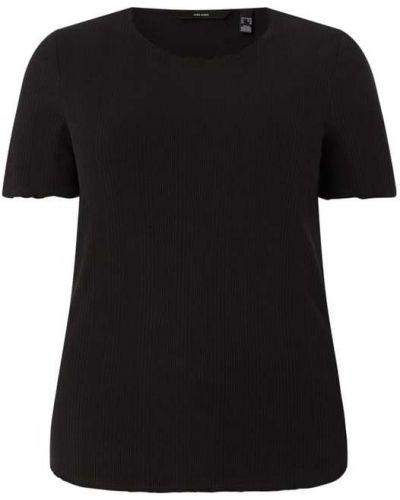 Prążkowany czarny t-shirt bawełniany Vero Moda Curve