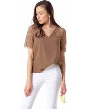 Блузка с коротким рукавом кружевная с поясом Fly