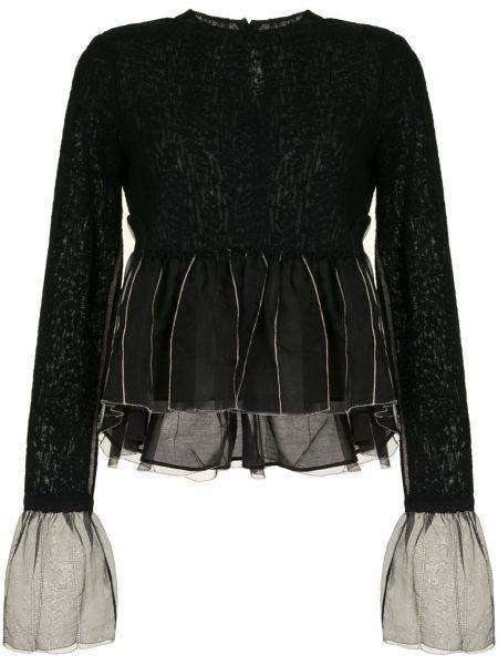Черная нейлоновая блузка с длинным рукавом с баской с вырезом Renli Su