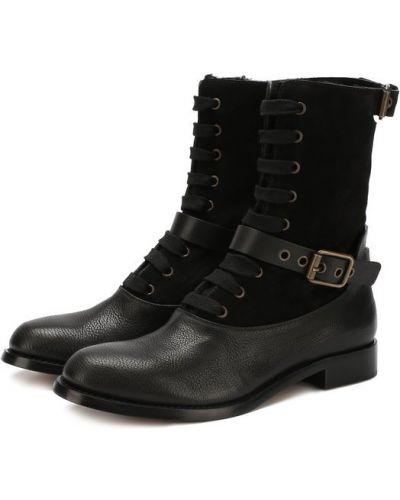 Ботинки на шнуровке с пряжкой Chloé