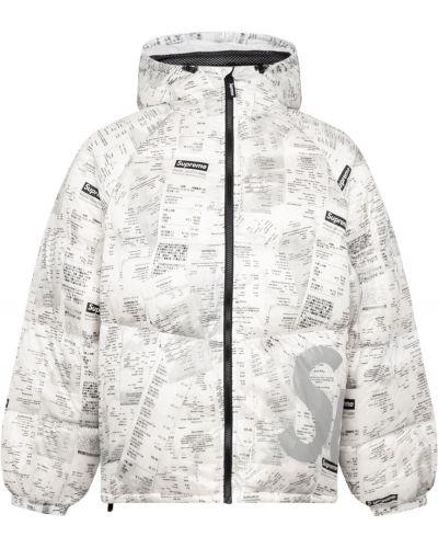 Biała kurtka z kapturem z printem Supreme