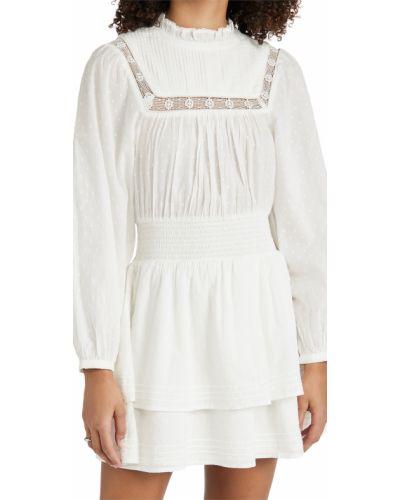 Бежевое кружевное платье мини с декольте Cleobella