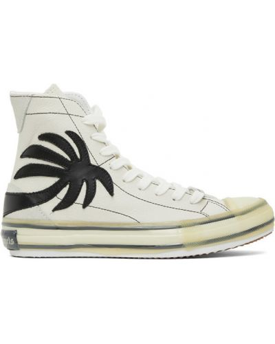 Кружевной белый кожаный топ Palm Angels