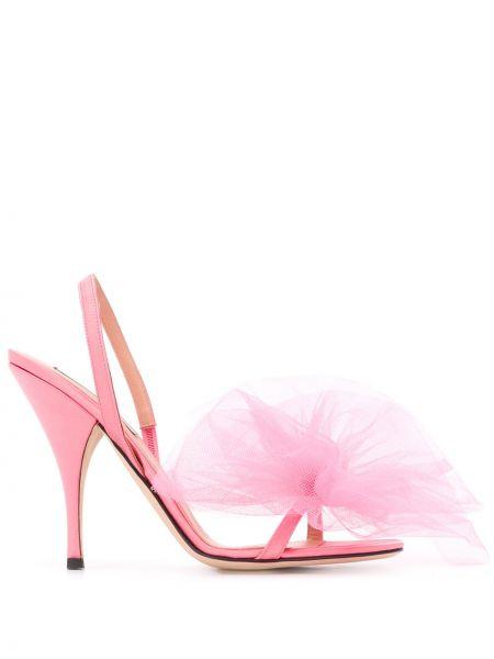 Różowe sandały skorzane z siateczką Marco De Vincenzo