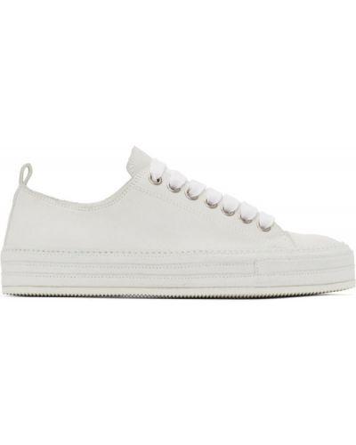 Skórzane sneakersy białe srebro Ann Demeulemeester