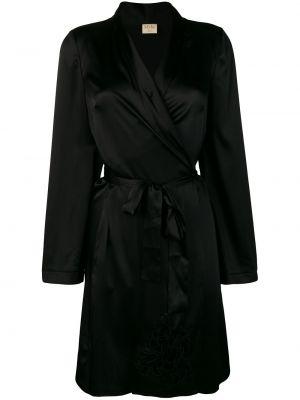 С рукавами черный бархатный халат с поясом Myla