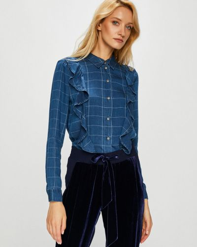 Блузка с длинным рукавом в клетку оверсайз Only