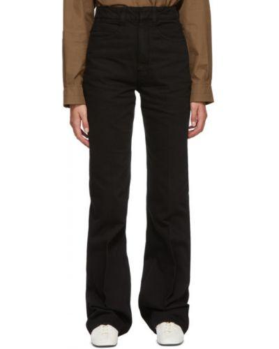 Prosto czarny jeansy na wysokości z kieszeniami Lemaire