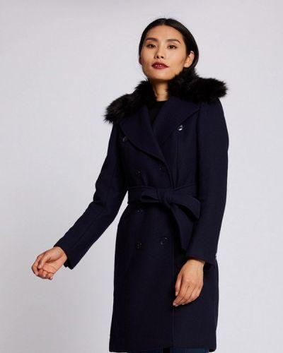 Синее пальто двубортное Morgan