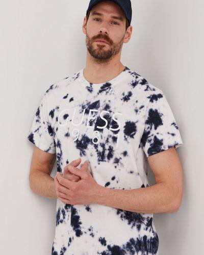 Biały t-shirt bawełniany z printem Guess