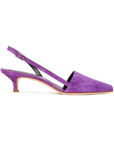 Фиолетовые с ремешком замшевые туфли-лодочки Tibi