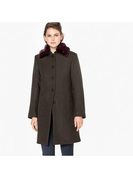 Пальто шерстяное с воротником La Redoute Collections