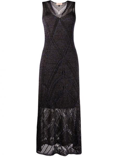 Черное платье миди с вырезом без рукавов Twin-set