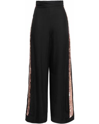 Шелковые черные брюки свободного кроя Temperley London