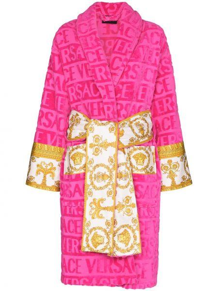 Różowy długi szlafrok bawełniany z długimi rękawami Versace