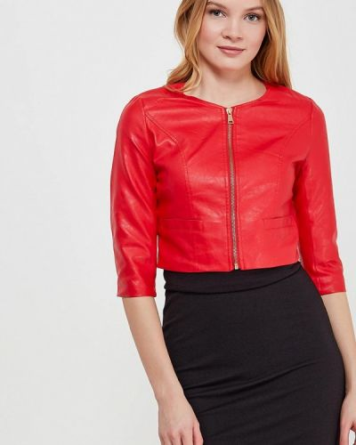 Кожаная куртка весенняя красная Paccio
