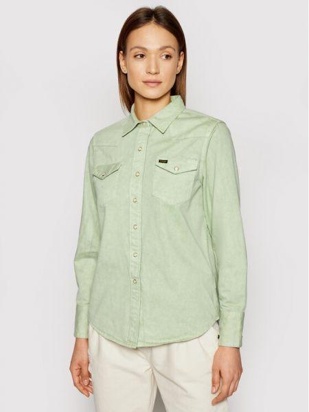Koszula jeansowa - zielona Wrangler