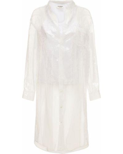 Biała narzutka z cekinami z nylonu Junya Watanabe