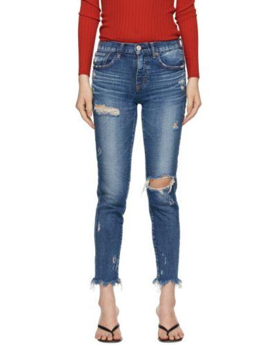 Niebieski jeansy do kostek zabytkowe z paskiem z łatami Moussy Vintage