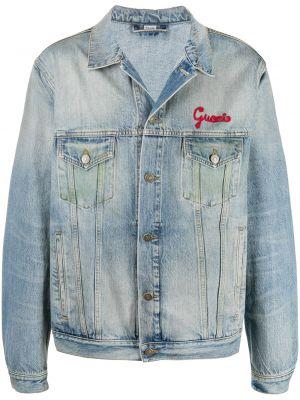 Niebieski klasyczny jeansy z kieszeniami zapinane na guziki z kołnierzem Gucci