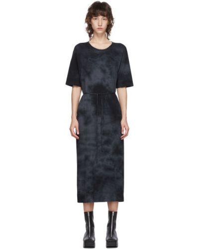 Ватное черное платье-рубашка с воротником с короткими рукавами Raquel Allegra