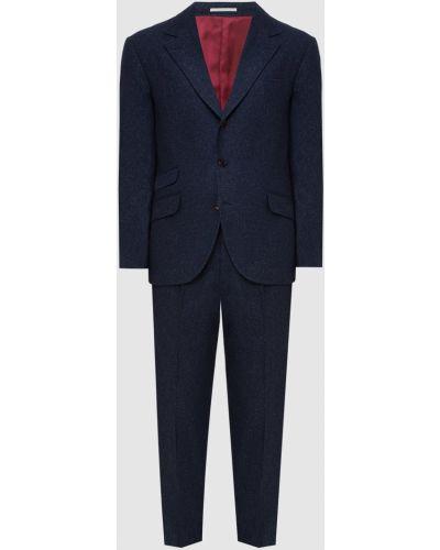 Костюмный синий кашемировый костюм Brunello Cucinelli