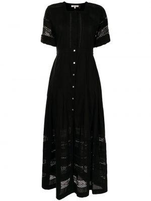 Czarna sukienka długa krótki rękaw Loveshackfancy