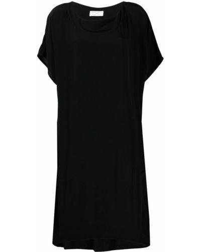 Шелковое с рукавами черное платье мини SociÉtÉ Anonyme