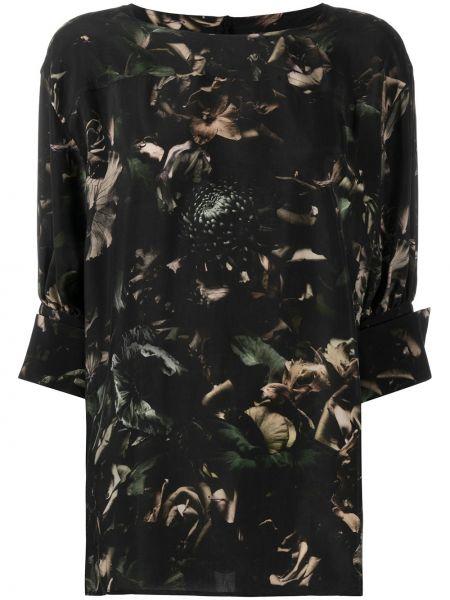 Черная с рукавами блузка свободного кроя Paul Smith