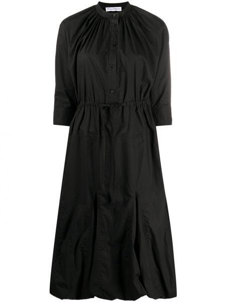 Черное расклешенное платье миди с круглым вырезом круглое Jw Anderson