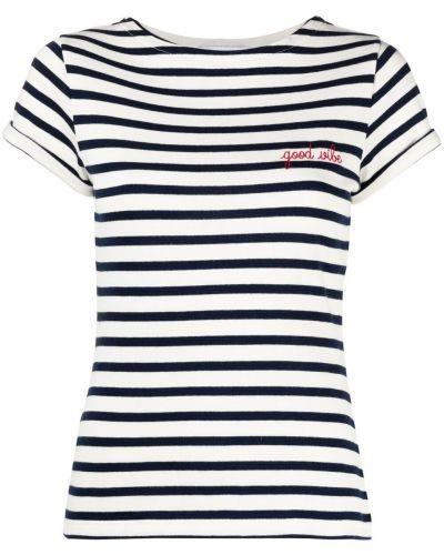 Хлопковая футболка с вышивкой в полоску Maison Labiche