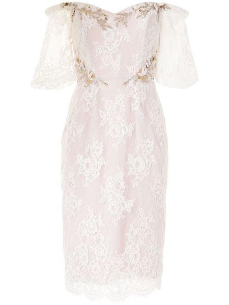 Кружевное белое платье с вышивкой с короткими рукавами Marchesa Notte