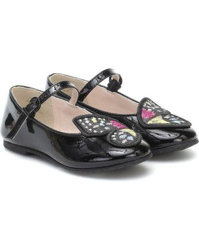 Czarny skórzany baleriny z motylem Sophia Webster Mini